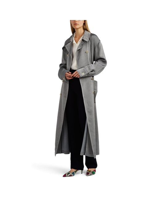 Giorgio Armani - Gray Cotton-blend Double-breasted Trench Coat - Lyst