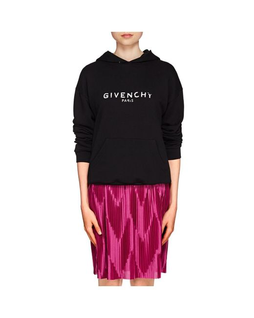 Givenchy - Black Logo Cotton Oversized Hoodie - Lyst