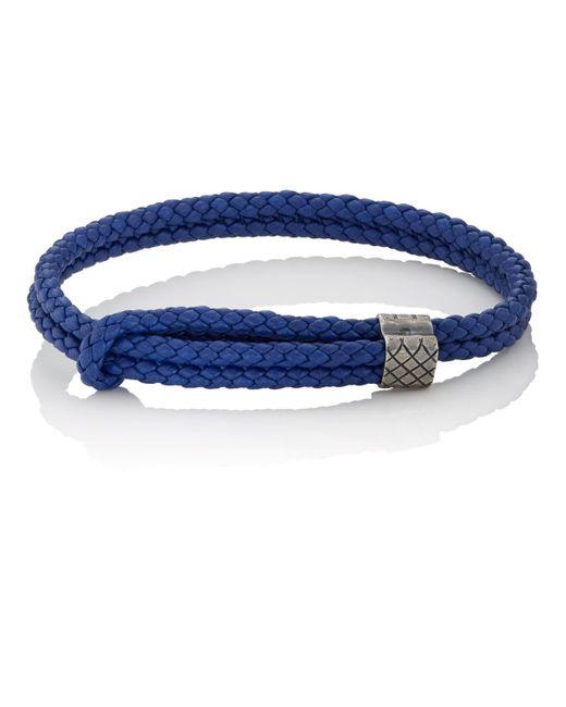 Bottega Veneta - Blue Sterling Silver & Intrecciato Leather Bracelet - Lyst