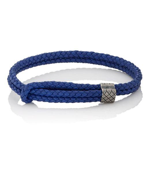 Bottega Veneta - Blue Sterling Silver & Intrecciato Leather Bracelet for Men - Lyst