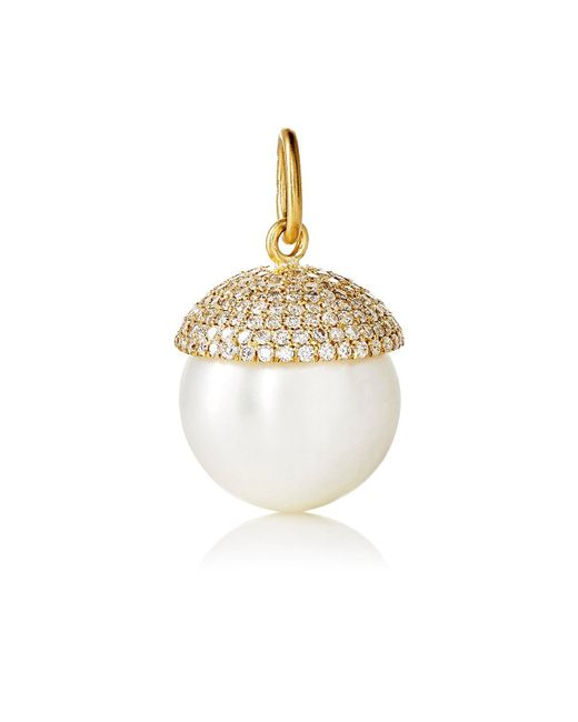 Irene Neuwirth | Metallic White Diamond & Pearl Pendant | Lyst