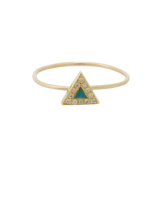 Jennifer Meyer - Multicolor Diamond & Turquoise Triangle Ring - Lyst