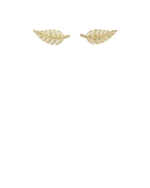 Jennifer Meyer | White Gold Leaf Studs | Lyst