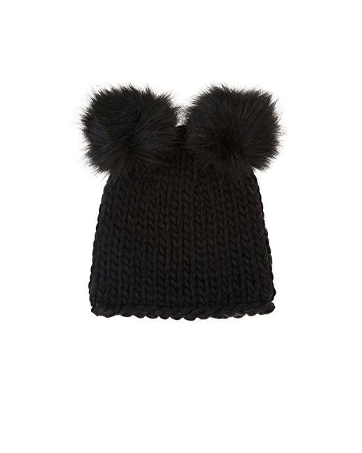 Barneys New York - Black Wool-blend Double Pom-pom Hat - Lyst
