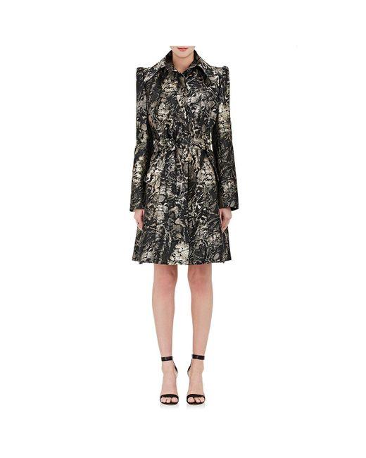 Zac Posen   Black Python Jacquard Trench Coat Dress   Lyst