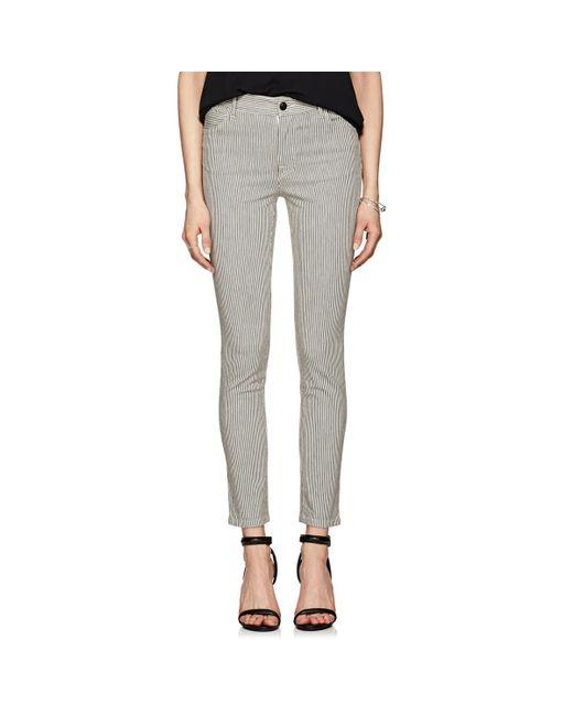 J Brand - Blue Striped Mid-rise Skinny Jeans - Lyst