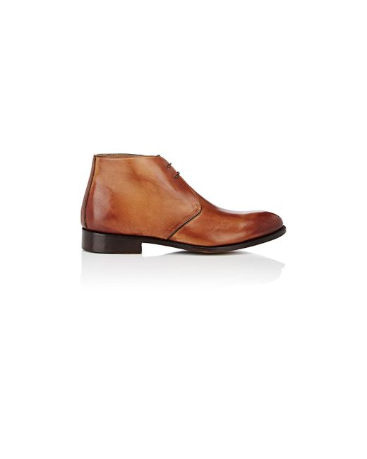 Barneys New York | Brown Burnished Leather Chukka Boots for Men | Lyst