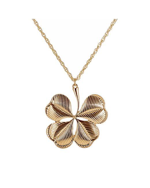 Kenneth Jay Lane   Metallic Clover Pendant Necklace   Lyst