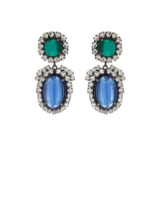 Kenneth Jay Lane | Blue Cabochon & Crystal Double | Lyst