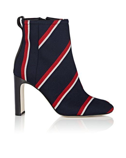 Rag & Bone - Blue Ellis Striped Twill Ankle Boots Size 5 - Lyst