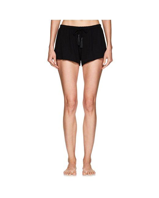 Skin - Black Slub Cotton Drawstring Shorts - Lyst