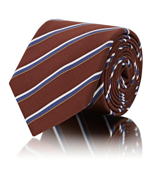 Barneys New York - Brown Striped Silk-cotton Twill Necktie for Men - Lyst
