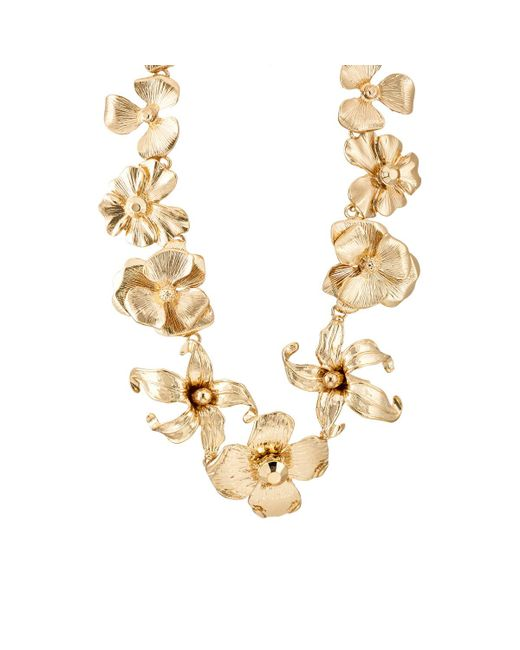 Kenneth Jay Lane | Metallic Floral Necklace | Lyst