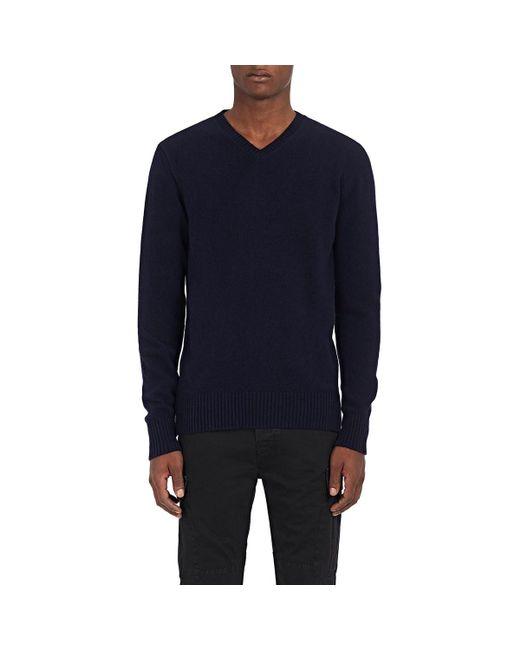 Officine Generale - Blue Cashmere-merino Wool V-neck Sweater for Men - Lyst