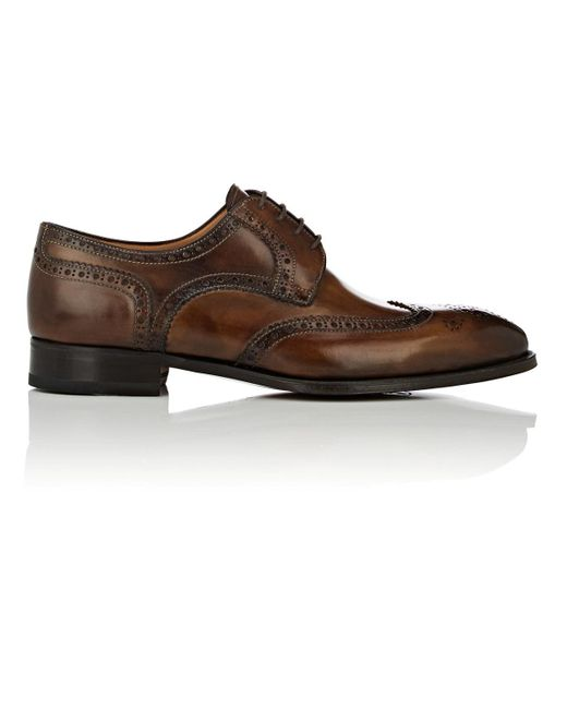 Di Bianco - Brown Burnished Leather Wingtip Bluchers for Men - Lyst