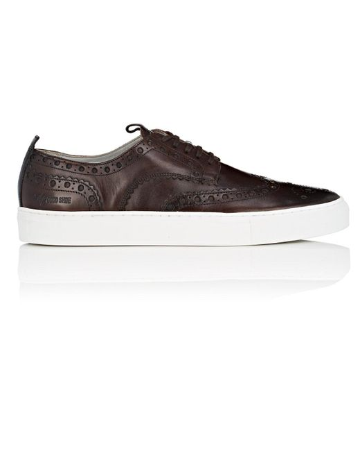 GRENSON - Brown Burnished Leather Wingtip Sneakers for Men - Lyst