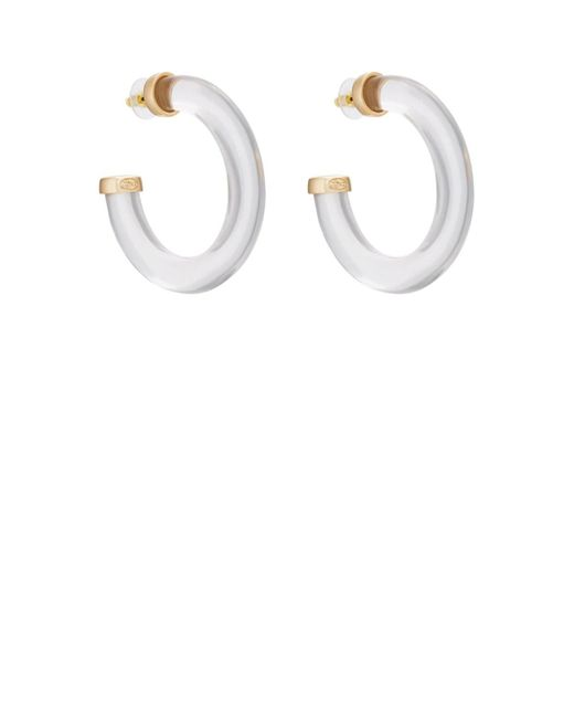Kenneth Jay Lane - Metallic Large Thick Clear Hoop Earrings - Lyst