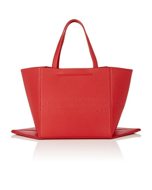 45a57f82c3 ... CALVIN KLEIN 205W39NYC - Red Amazon East West Leather Tote Bag - Lyst  ...