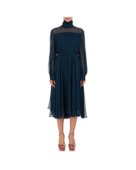 By. Bonnie Young - Blue Silk Georgette Turtleneck Dress - Lyst