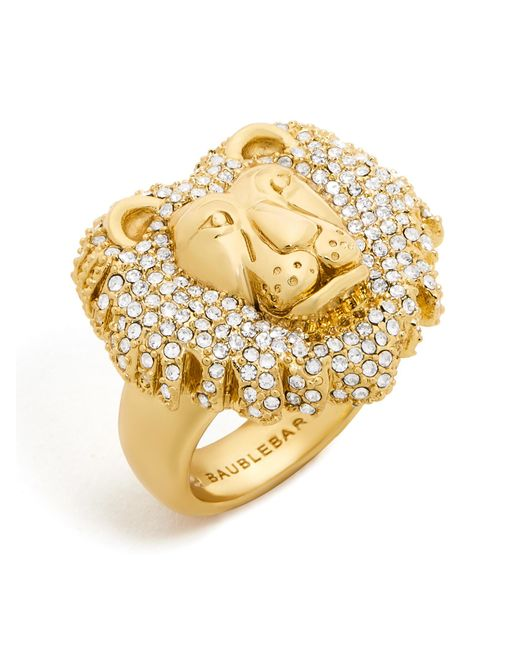 BaubleBar | Multicolor Crystal Lion Head Ring | Lyst