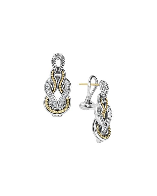 Lagos | Metallic Sterling Silver And 18k Gold Newport Diamond Earrings | Lyst