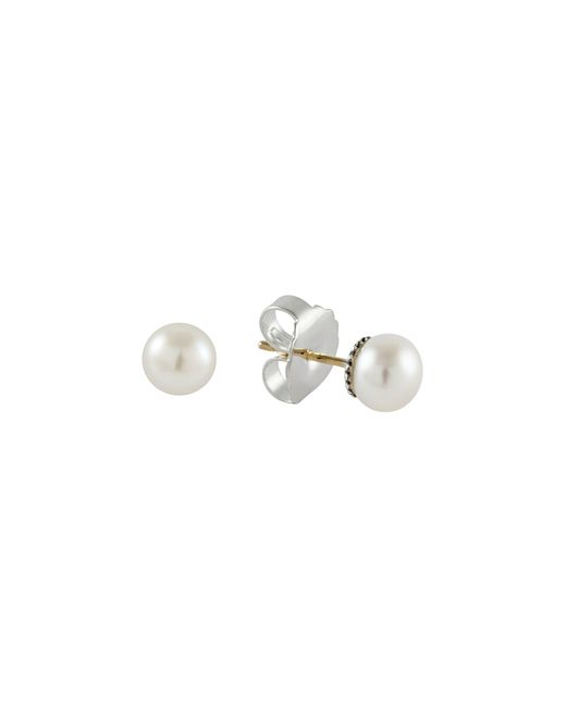 Lagos | White Sterling Silver Luna Fluted Button Post Pearl Earrings, 8mm | Lyst