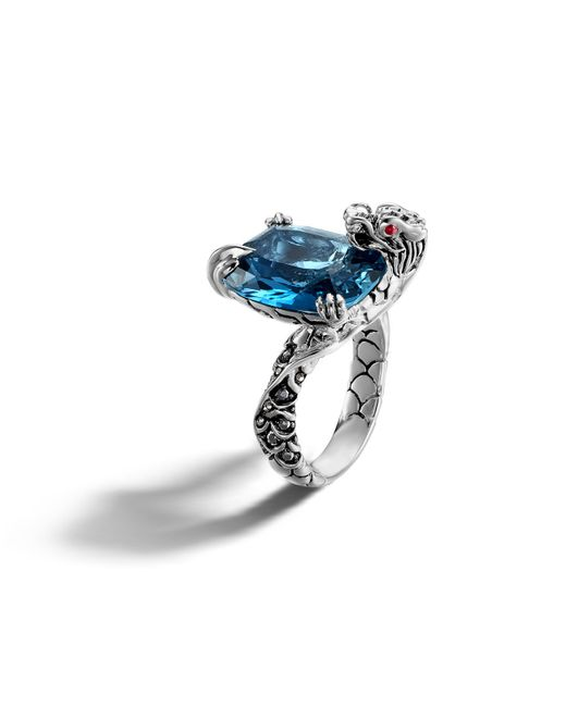 John Hardy | Blue Braided Chain Band Ring With Moon Quartz And Diamond | Lyst