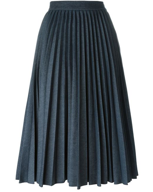 msgm pleated denim skirt in blue save 50 lyst