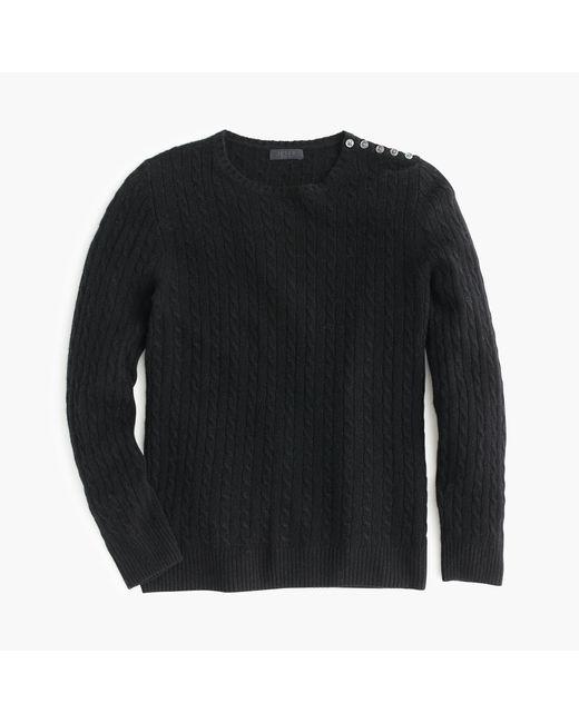 J.Crew | Black Italian Cashmere Mini-cable Sweater | Lyst
