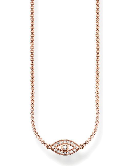 Thomas Sabo | Pink Fatima's Garden Nazar's Eye 18ct Rose-gold Plated Sterling Silver And Pavé Zirconia Necklace | Lyst