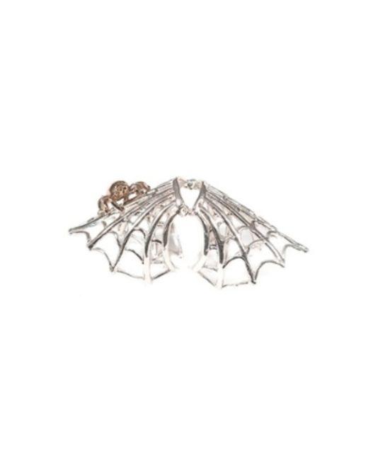 Bernard Delettrez | Metallic Silver Articulated Spiderweb Ring With Bronze Spider | Lyst