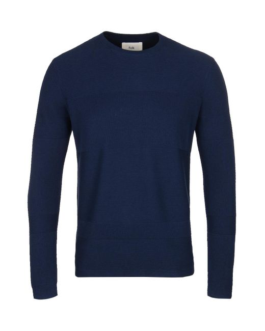 Folk - Blue Navy Fragment Crew Knitted Sweater for Men - Lyst