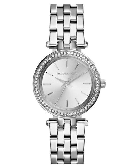 MICHAEL Michael Kors   Metallic Michael Kors 'Darci' Crystal Bezel Bracelet Watch   Lyst