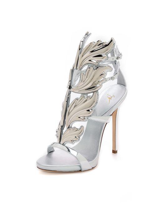 Giuseppe Zanotti | Silver Metal Wing Sandals | Lyst