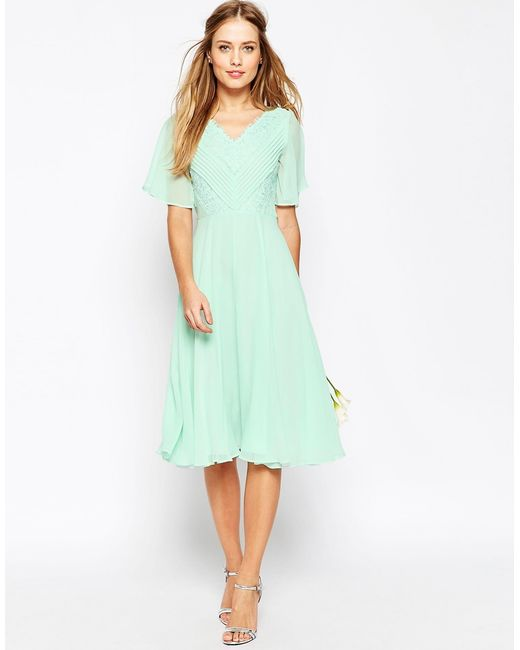 Asos Wedding Lace And Pleat Midi Dress In Green (Mint)
