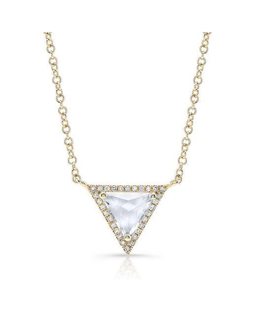 Anne Sisteron - Metallic 14kt Yellow Gold White Topaz Triangle Diamond Necklace - Lyst