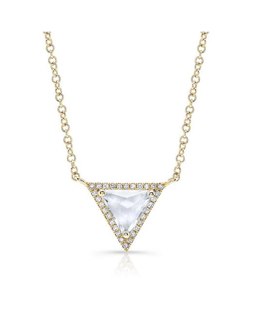Anne Sisteron - Metallic 14kt Rose Gold White Topaz Triangle Diamond Necklace - Lyst