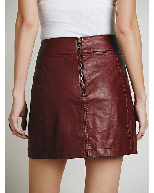 Free People | Purple Zip To It Vegan Leather Mini Skirt | Lyst