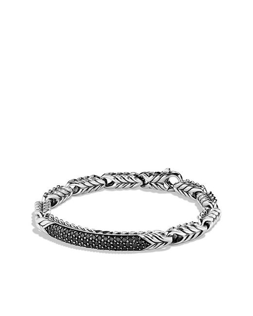 David Yurman | Chevron Id Bracelet With Black Diamonds for Men | Lyst