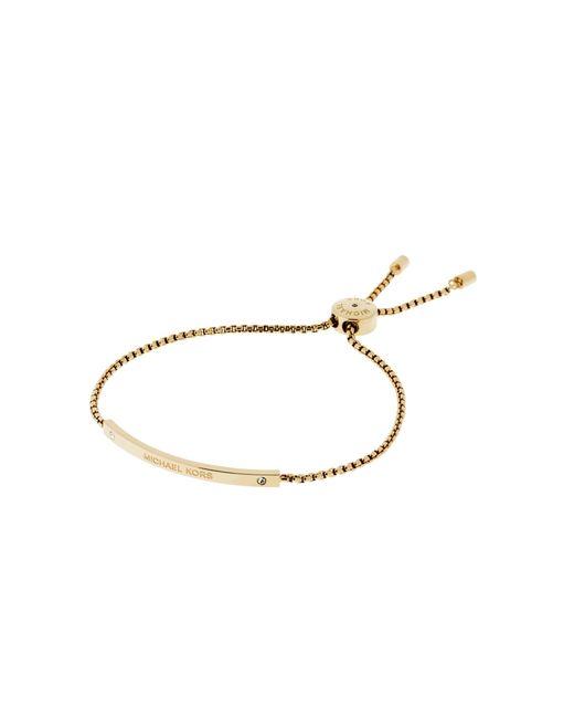 Michael Kors | Metallic Logo Gold-tone Slider Bracelet | Lyst