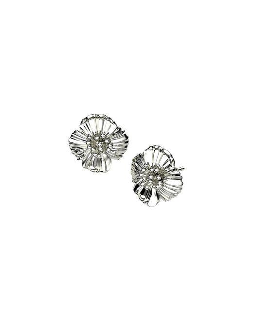 Azendi | Metallic Sterling Silver Poppy Stud Earrings | Lyst