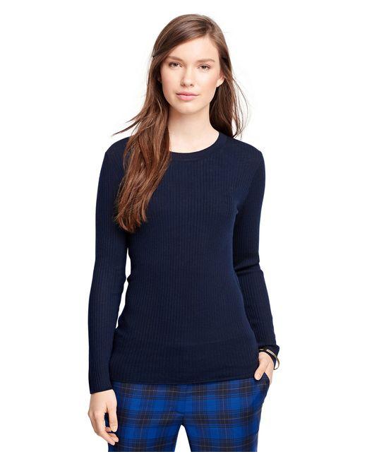 Brooks Brothers | Blue Merino Wool Ribbed Crewneck Sweater | Lyst