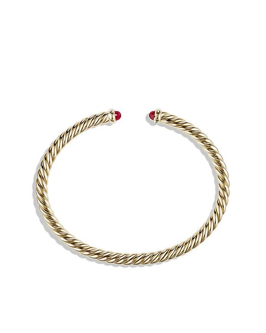 David Yurman | Red Cable Spira Bracelet With Rubies In 18k Gold, 4mm | Lyst