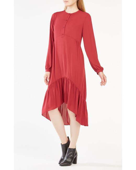 bcbgmaxazria natalii midi peasant dress in lyst