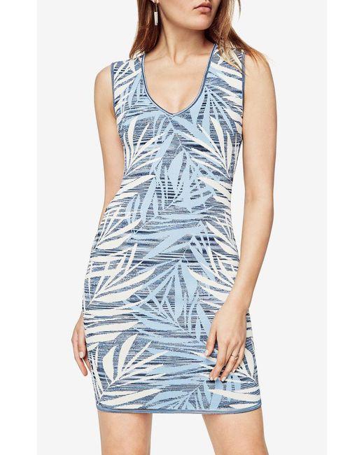 BCBGMAXAZRIA - Blue Gari Palms Knit Jacquard Dress - Lyst