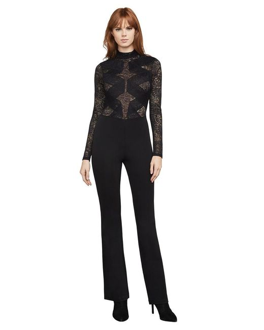 BCBGMAXAZRIA | Black Elshane Lace-trimmed Jumpsuit | Lyst