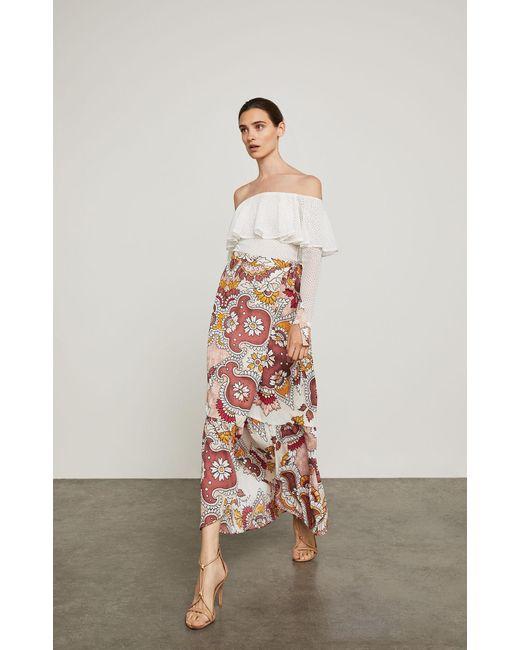 BCBGMAXAZRIA - Red Bcbg Grand Paisley Maxi Wrap Skirt - Lyst
