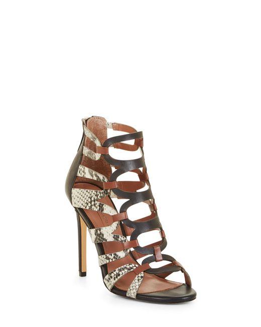 BCBGMAXAZRIA - Multicolor Bcbg Valentia Python Leather Sandals - Lyst