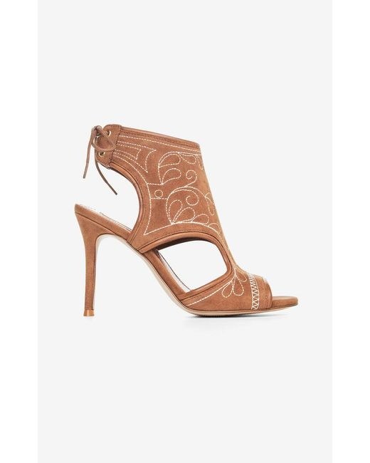 BCBGMAXAZRIA - Brown Myah Embroidered Faux-suede Sandal - Lyst
