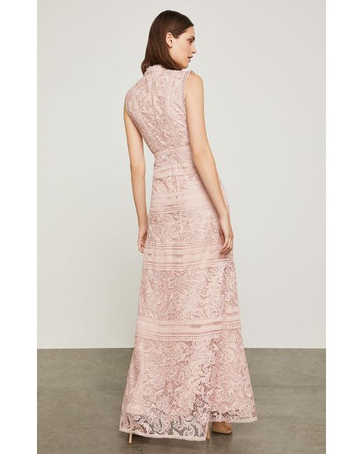 Lyst - Bcbgmaxazria Bcbg Scrolling Lace Gown in Pink